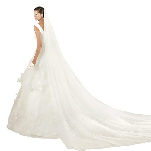 Fakeface moda donna elegante per matrimoni e Velo 2-piani con pettine cattedrale veli da sposa Avorio Taglia unica
