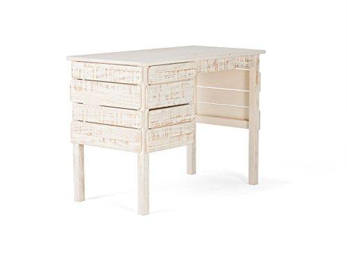 massivum Schreibtisch Safari 100x75x53 cm Pinie weiß lackiert