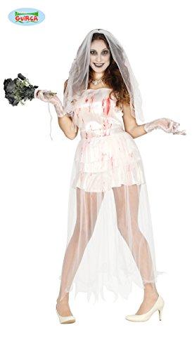 Zombie Braut Blut Halloween Horror Hochzeit Party Kostüm für Damen Leiche Gr. M - L, Größe:M