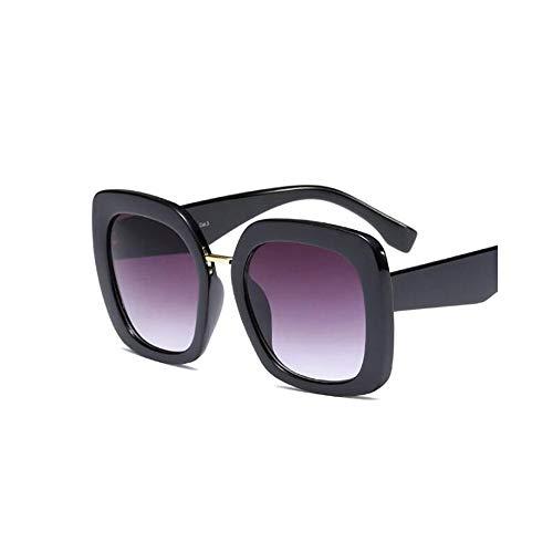 WJFDSGYG Übergroße Sonnenbrille Fashion Woman Square Brille Damen Schwarze Sonnenbrille Für Männer Promi-Brille