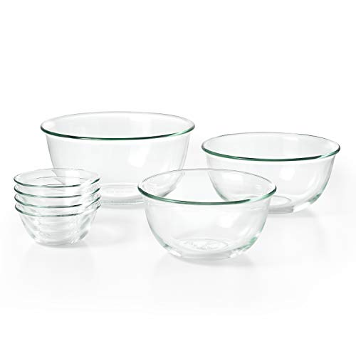 Schüssel-Set, 3-teilig 7-teiliges, Schüssel-Set Four 10 oz Glass Bowls, 4.5 Qt Glass Bowl, 2.5 Qt Glass Bowl and 1.5 Qt Glass Bowl farblos 10 Ounce Microwavable Bowls