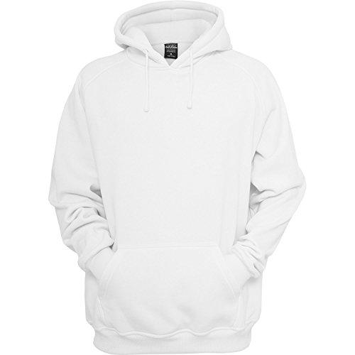 Urban Classics Sweatshirt, Hoodie Herren, Kapuzenpullover einfarbig (Pullover in vielen Farben erhältlich, ausgestattet mit Kapuze und Bauchtasche) Weiss-1