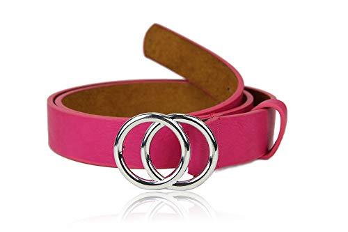 irisaa Schmaler Damen Gürtel mit runder Metallschnalle zwei Ringen, 2,8 cm breit und 0,4 cm stark, Länge:80, Farbe:Magenta mit Silberring