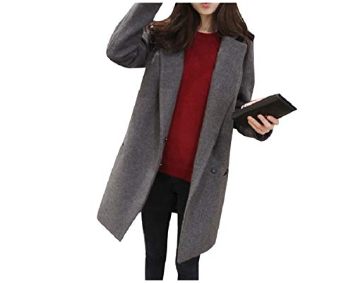 CuteRose Womens Slim Fit Faux Wool Fall Winter Classics Jackets PEA Coat Grey M (Double Breasted Pea Coat Dress)