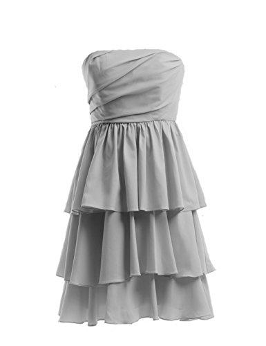 Dresstells, robe courte gradin de demoiselle d'honneur en mousseline sans bretelles Ivoire