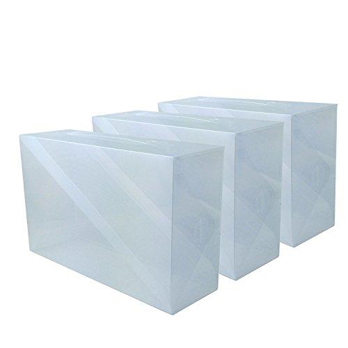 DynaSun 3x PP368TG Cajas de Almacenaje Para Zapatos Apilable Plegable Contenedor Organizador Transparente...