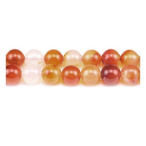 Fil De 60+ Orange/Blanc Cornaline 6mm Perles Rond - (GS2550-2) - Charming Beads