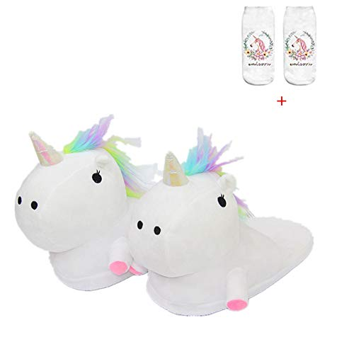 Unicorn Slippers Warmer Soft Plush Slippers Anti Slip-On Suitable Ladies Adult Cartoon Animal Slipper Ideal Festival Christmas Novelty Gift