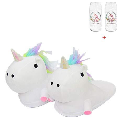 Unicorn Slippers Warmer Soft Plush Slippers Anti Slip-On Suitable Ladies Adult Cartoon Animal Slipper Ideal Festival Christmas Novelty Gift