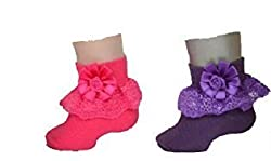 1stbabystore Rosette Baby Girls Frill Socks Pack Of 2 Rani,Purple(6-12months)