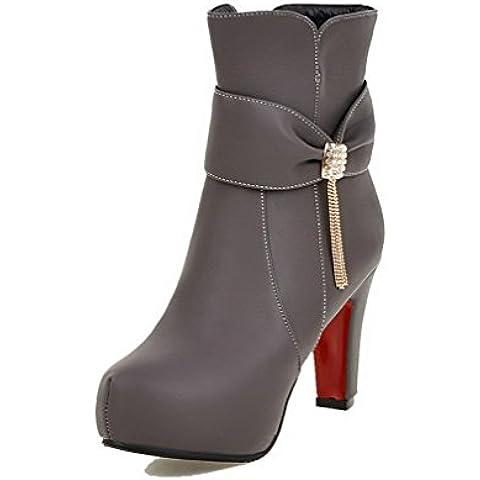 AgooLar Donna Cerniera Tacco Alto Chiodato Bassa Altezza Stivali con Studded Strass