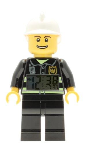 LEGO City 9003844 Feuerwehrmann Kinder-Wecker mit Minifigur und Hintergrundbeleuchtung , schwarz/weiß , Kunststoff , 24 cm hoch , LCD-Display , Junge/ Mädchen , offiziell