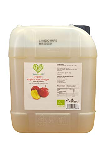 SuperfoodUK Organic Apple Cider Vinegar with Mother | Raw & Unfiltered | (Jerry Can) 5 litres