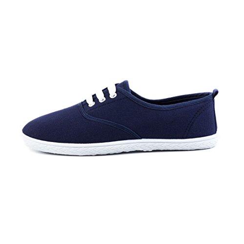 Trendige Low Top Damen Schnür Sneaker Schuhe in Textil Modell 3: Blau