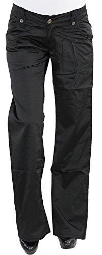 Damen Satin Hüfthose Hüft Hose gerader Schnitt Stoffhose gerades Bein Schwarz M3587