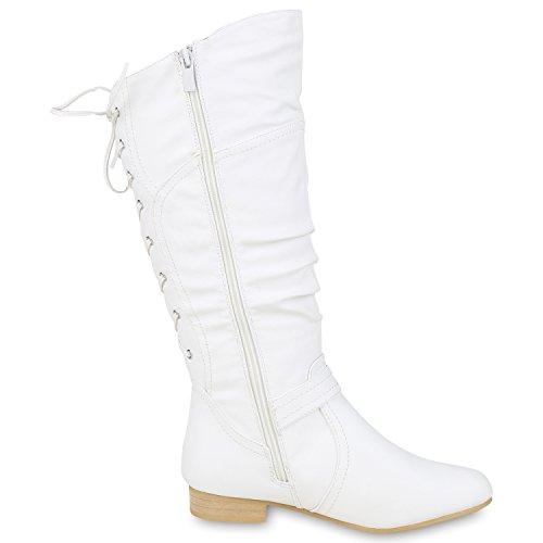napoli-fashion Klassische Damen Stiefel Schnallen Leder-Optik Booties Jennika Weiß