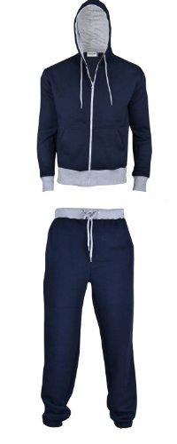 Mens Fleece Warm Sports Jogging Tracksuit Top & Bottoms
