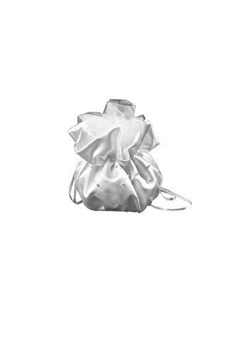 Nina Brautmoden Brautbreutel Brauttasche aus Satin mit Perlen - T2 (weiß)