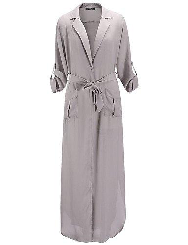 PU&PU Robe Aux femmes Trapèze / Ample / Swing Sexy / Vintage / Soirée / Travail / Décontracté / Plage , Couleur Pleine Col en V / V Profond Maxi BLACK-L