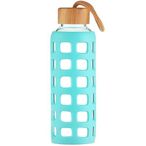 Cleesmil Sport Trinkflasche Glas Wasserflasche mit Silikonhülle mit Bambus Deckel 660 ml (Aqua Blau)