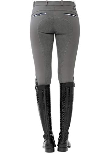SPOOKS Reithose für Damen Mädchen Kinder, Voll-Besatz Reithosen Leggings Turnierreithose - bequem & stylisch Ricarda Full - Stone XS