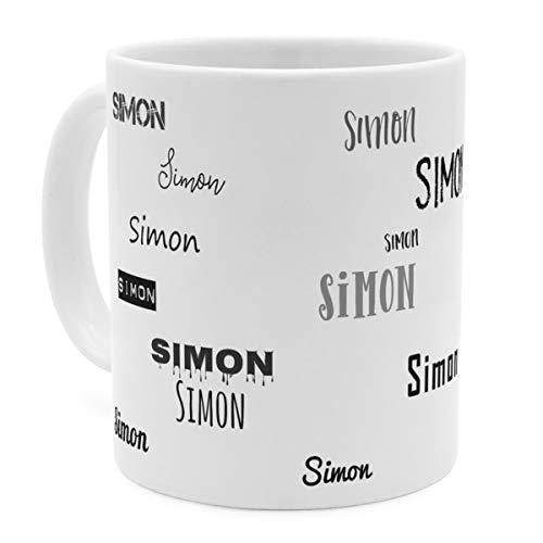 printplanet Tasse mit Namen Simon - Motiv Schriftarten Sammlung - Namenstasse, Kaffeebecher, Mug, Becher, Kaffeetasse - Farbe Weiß