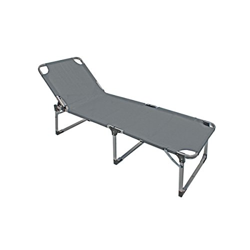 XXL Sonnenliege Gartenliege ABACO grau Gestell Aluminium