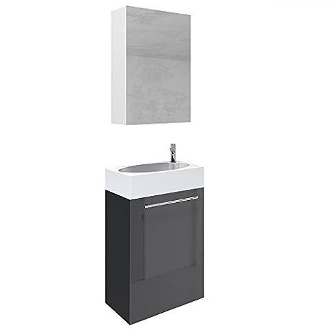 VICCO Waschplatz 45 cm Schwarz Hochglanz - Badmöbel Set - Unterschrank Waschbecken Spiegelschrank Waschtisch
