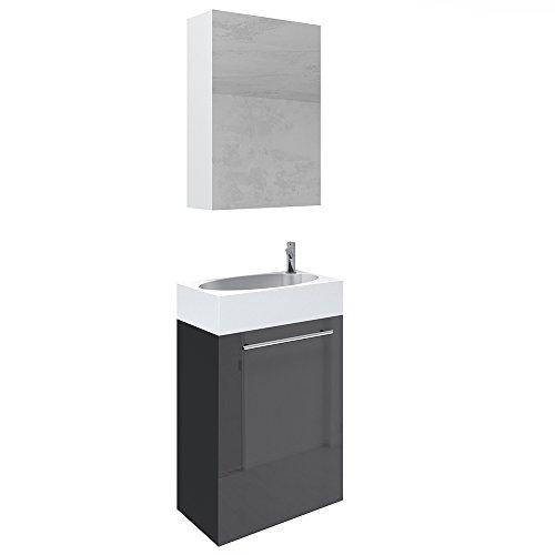 Oskar VICCO Waschplatz 45 cm Schwarz Hochglanz - Badmöbel Set - Unterschrank Waschbecken Spiegelschrank Waschtisch Gäste