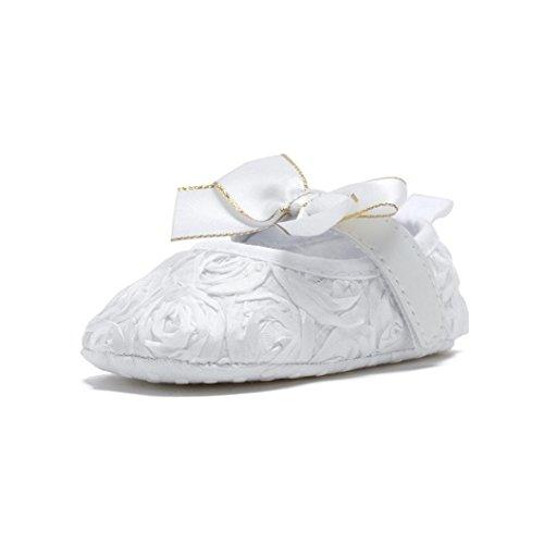 Igemy 1Paar Neugeborene Baby Soft Bottom Anti-Rutsch Schuhe Mädchen Blumen Schuhe Weiß