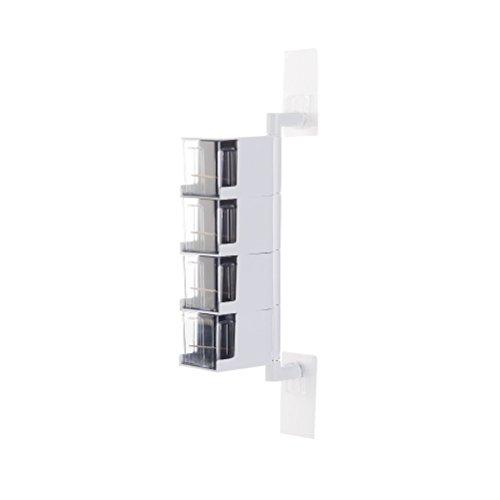 OUNONA Acryl Gewürz Box 4 Tier 360 Grad selbstklebende Gewürzständer (weiß) Spice Rack Paket