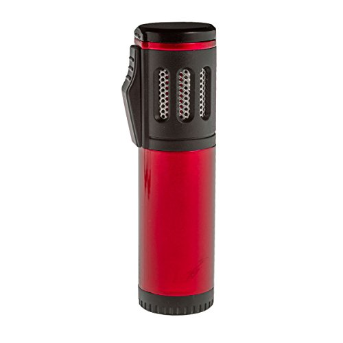Shisha Gas Feuerzeug Triple Jet Flame mit Schutzkappe (Rot)