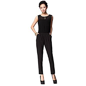ipretty sommer elegant damen jumpsuit overall lang schwarz. Black Bedroom Furniture Sets. Home Design Ideas