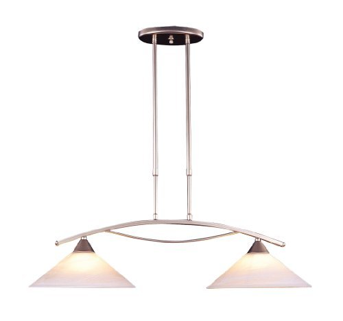Elk 6501/2 2-Light Island Light In Satin Nickel and Tea Swirl Glass by Elk - Island Light Nickel