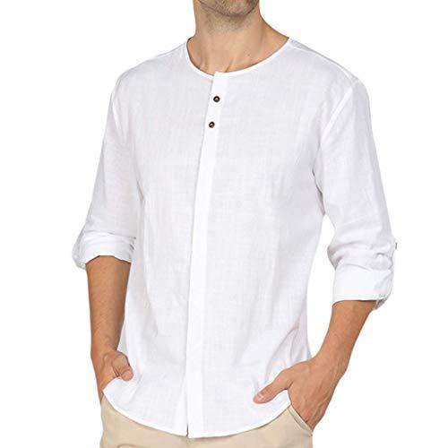 Cap Sleeve Shirt Öse (WORMENG Herrenmode Baggy Baumwollmischung Einfarbig Langarm Rundhals Shirts Bluse Top Basic Hemd Casual Sommer Lässige)
