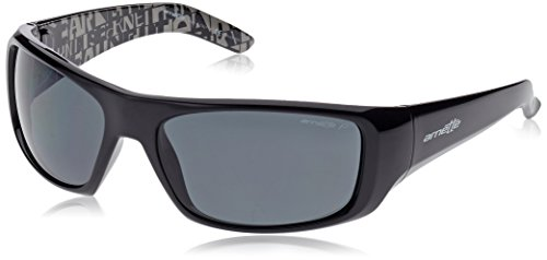 9fee8bd8c76 Arnette Hot Shot AN4182-01 Gloss Black with Distressed Grey inside Polarized  Grey Lens