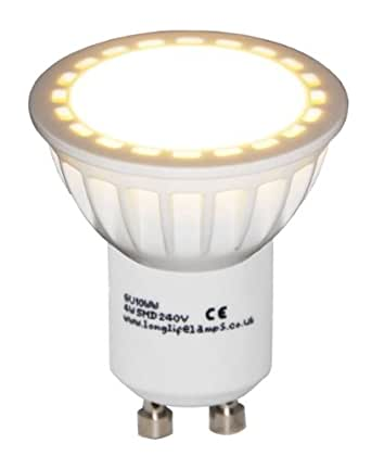 10 Pack GU10 4W LED Beautiful Warm White Colour 40w Replacement for Halogen bulb with New Chip Technology with 2 Year Warranty 2700k