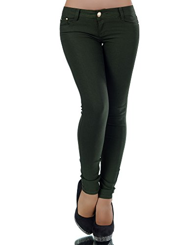 L475 Damen Hose Treggings Leggings Stoffhose Freitzeithose Röhrenhose Leggins , Farben:Dunkelgrün;Größen:36 (S)