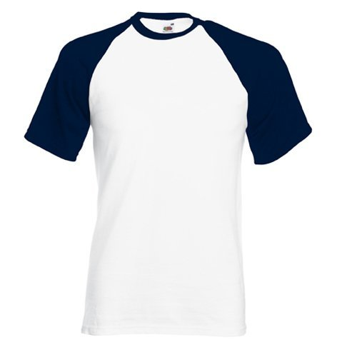 Fruit of the Loom Shortsleeve Baseball T-Shirt WeissDeepNavy L