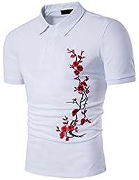 HerZii Hombre Polos con Flor Camisetas Carta Manga Moda