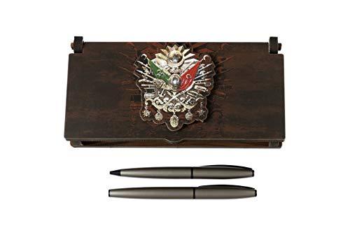 Gök-Türk Schatulle aus Holz mit 2 Kugelschreiber Tugra von Abdülhamid II Sultans Stempel Osmanisches Reich Osmanli (mit Gravur) -