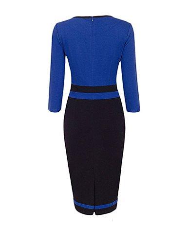 PU&PU Robe Aux femmes Gaine Simple / Street Chic,Mosaïque Col Arrondi Midi Coton BLACK-XL