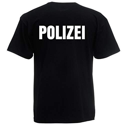 Gefängnis Kostüm Officer - Shirt-Panda Herren Polizei T-Shirt - Druck Beidseitig Brust & Rücken Reflex Schwarz (Druck Weiß) 3XL
