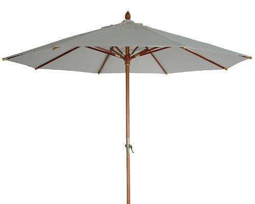 Zangenberg 64610_810 Holzschirm Manila, beige, 300x300 cm rund, Gestell Holz, Bespannung Polyester, 13 kg