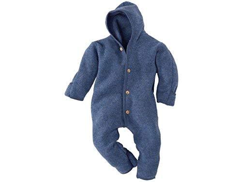 Engel-Natur Baby Overall mit Kapuze aus Bio Schurwoll-Fleece, Blau Melange, Gr. 86/92