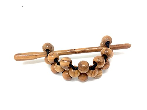 Haarspange mit Perlen 10mm aus echten Olivenholz - handgemacht - Holzschmuck - Haarband - Zopfhalter - Haargummi