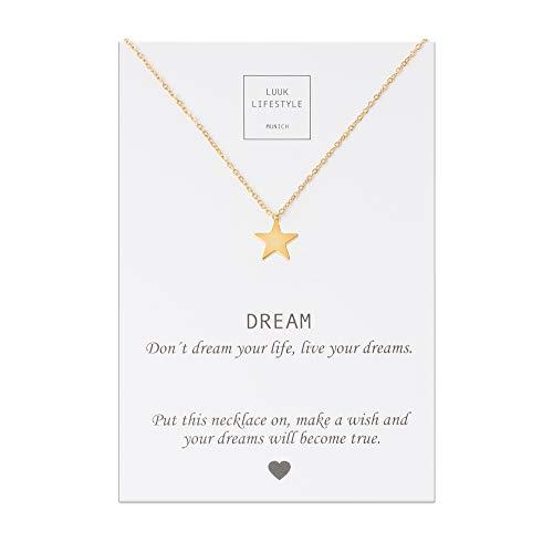 LUUK LIFESTYLE Collar de acero inoxidable con colgante de estrella y cita Dream, joya de mujer, tarjeta de regalo, amuleto, oro