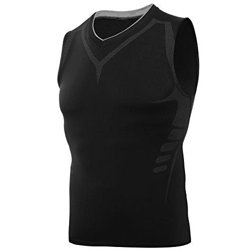 AMZSPORT Camisa deportes de compresión sin mangas para hombre Deporte