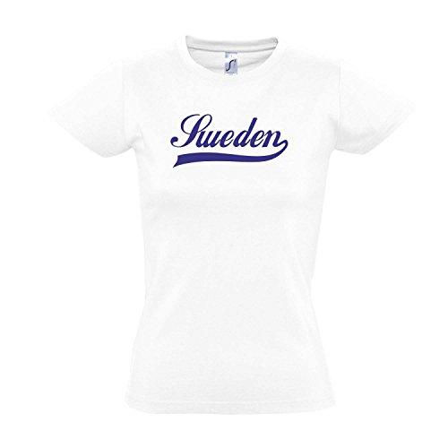 Damen T-Shirt - Schweden Oldschool Sweden LÄNDERSHIRT EM / WM FAN Trikot S-XXL , White - blau , L
