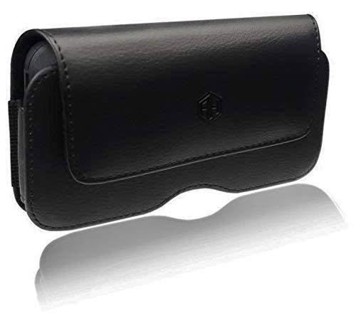 AccessoryHappy Schutzhülle aus Leder, kompatibel mit iPhone XS Max, 8 Plus, 7 Plus, 6S/6 Plus (5,5 Zoll), extra große Tasche, Gürtelclip für iPhone Otterbox, Horizontal AH Pouch Iphone Horizontal Pouch